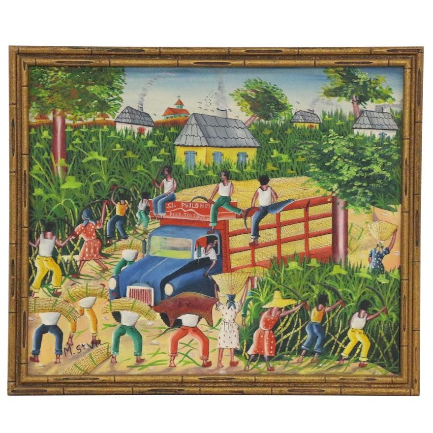 Murat Saint Vil Haitian Folk Art Oil Painting, Late 20th Century