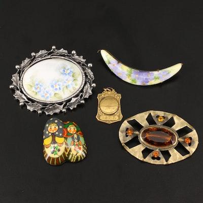 Vintage Jewelry Selection Featuring Art Nouveau Porcelain Flower Brooch