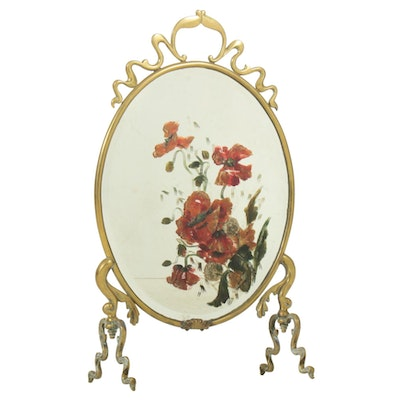 Art Nouveau Hand-Painted Beveled Edge Mirror Fire Screen with Brass Trim