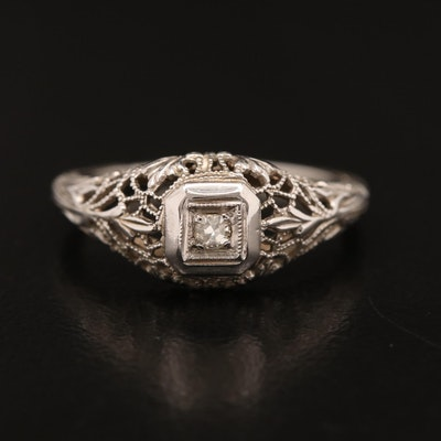 Art Deco 14K Diamond Openwork Foliate Ring