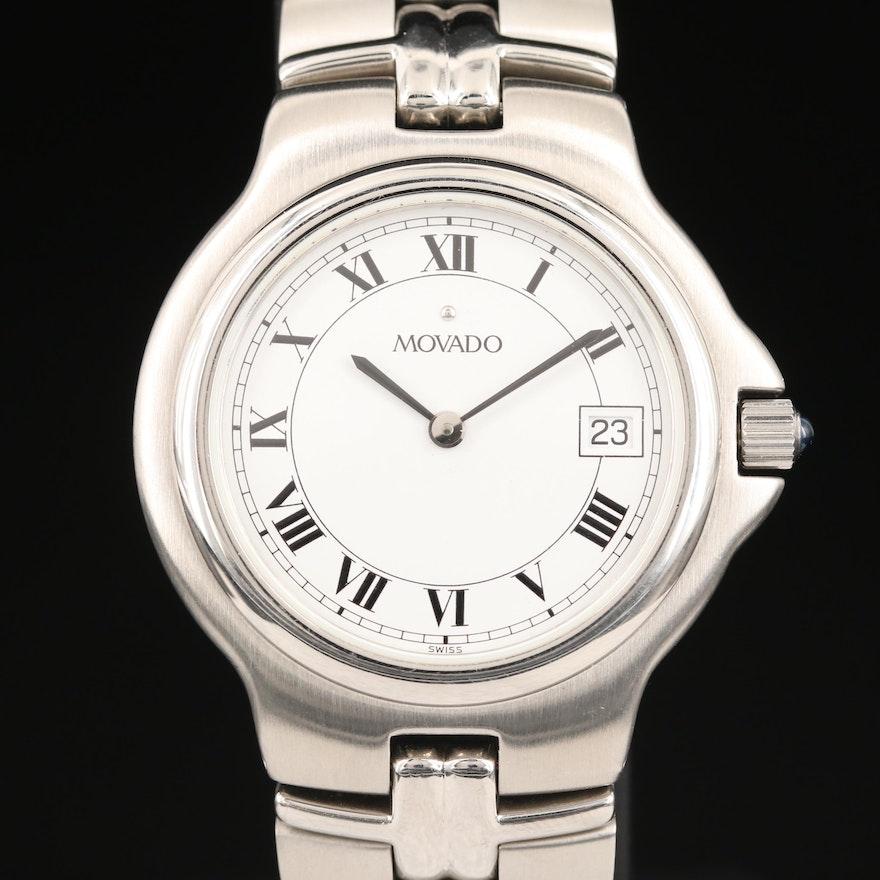 Movado Olympian with Date Stainless Steel Quartz Wristwatch