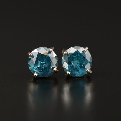 14K 1.66 CTW Diamond Solitaire Stud Earrings