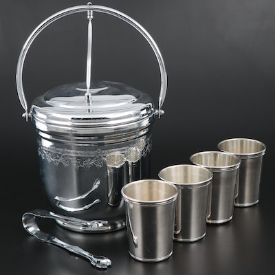 United Chrome Ice Bucket with Silver Plate Julep Cups and Ice Tongs, Mid-20th C.