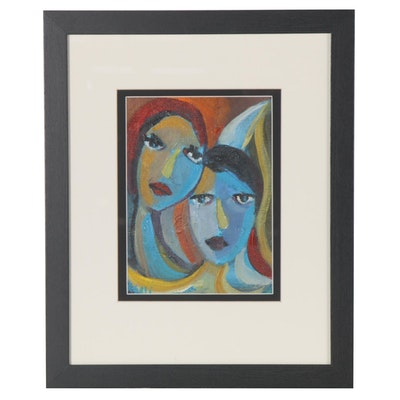 Ray Asali Modernist Acrylic Double Portrait Painting, 21st Century