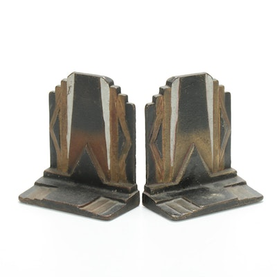 Cast Iron Art Deco Bookends, Early 20th Century
