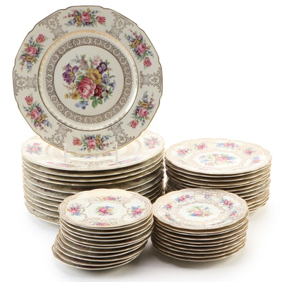 Royal Bayreuth Floral Porcelain Dinnerware, 1960s