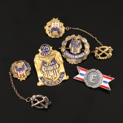 Vintage Collection of Service Pins and Awards Including Sterling Silver Pin