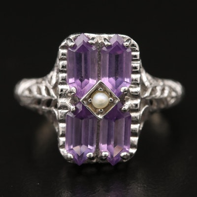 Art Deco Style 10K Amethyst and Pearl Ring