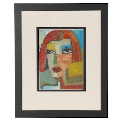 Ray Asali Modernist Acrylic Portrait Painting, 21st Century