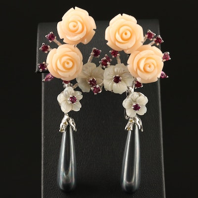 Sterling Silver Carved Coral and Mother of Pearl Flower Earrings
