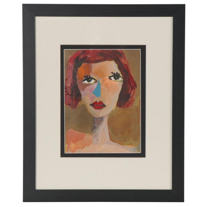 Ray Asali Modernist Acrylic Portrait Painting, 21st Century