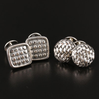 Scott Kay Sterling Silver Cufflinks Featuring Square and Woven Designs