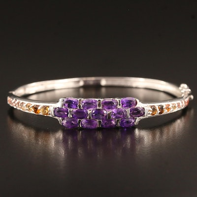 Sterling Silver Amethyst and Sapphire Hinged Bangle