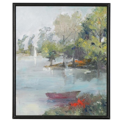 Impressionist Style Oil Painting of Lake Landscape with Rowboat