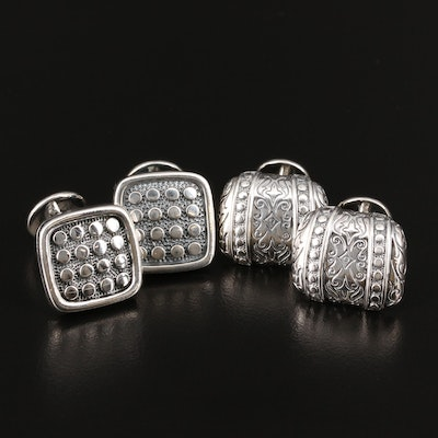Scott Kay Sterling Silver Cufflinks Featuring Hobnail and Engraved Designs