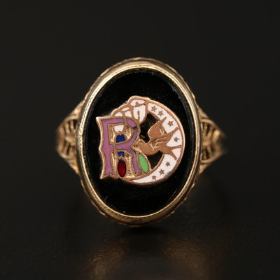 Victorian Glass and Cloissoné Ring