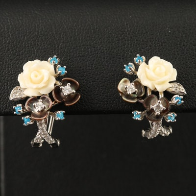 Sterling Carved Flower, Apatite and Cubic Zirconia Drop Earrings