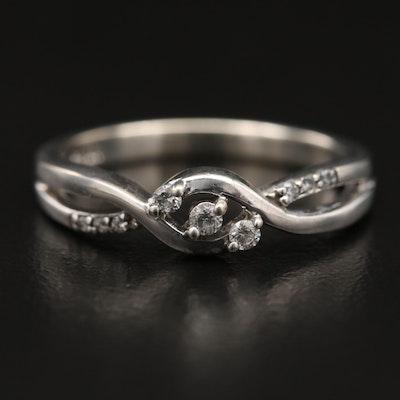 800 Silver Diamond Crossover Ring