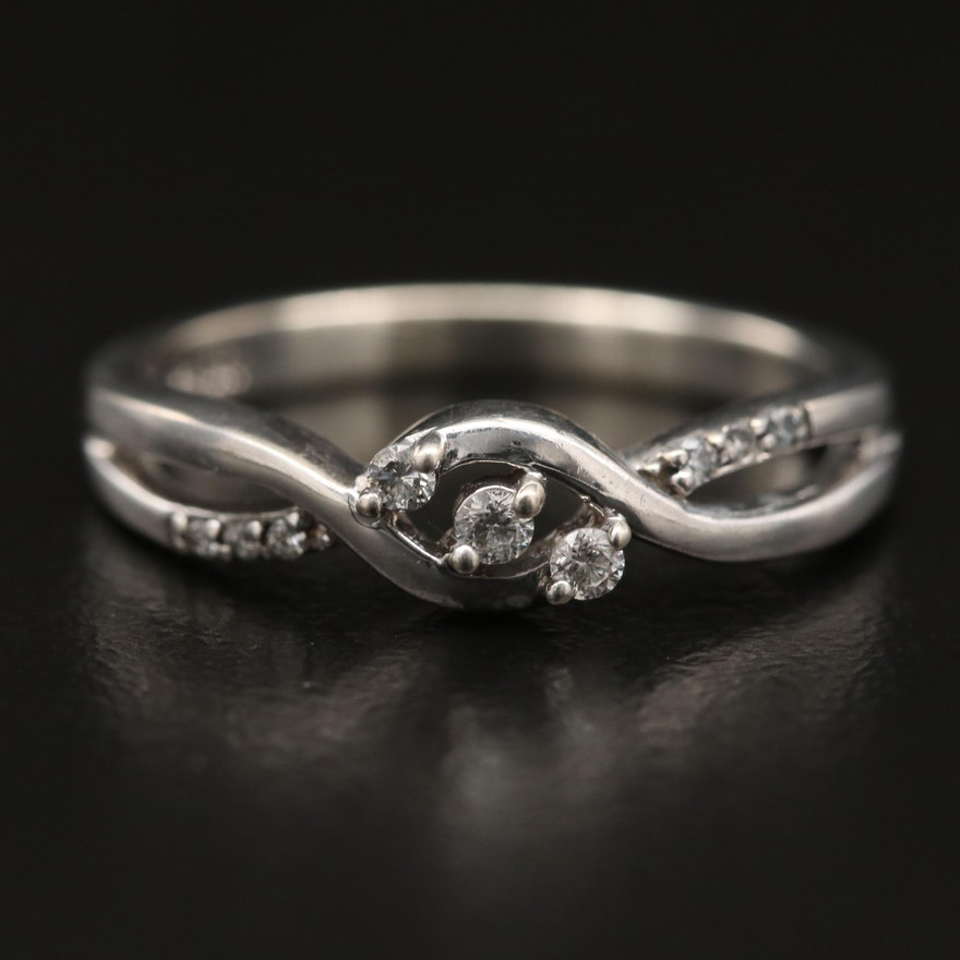 800 Silver Diamond Crossover Ring