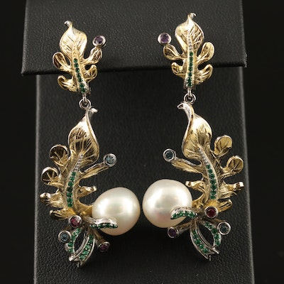 Sterling Silver Pearl, Amethyst and Diopside Foliate Motif Earrings