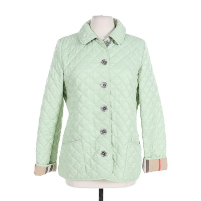 "Burberry Brit Button-Front Jacket in Quilted Mint Nylon with ""Nova Check"" Lining"