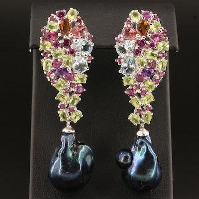 Sterling Silver Pearl and Multi-Gemstone Drop Earrings