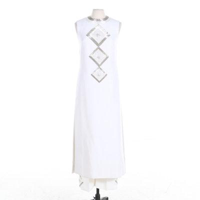 Valentina Beaded White Sleeveless Tunic and Pants Set, 1960s Vintage