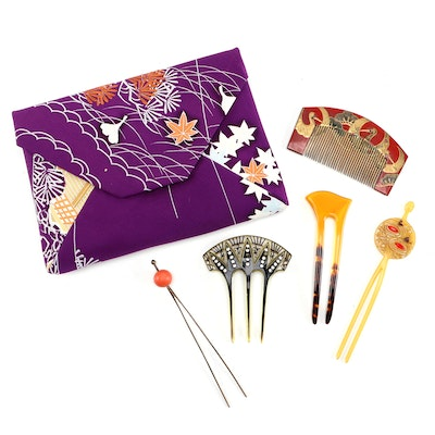 East Asian and Art Deco Hair Accessories with Clutch