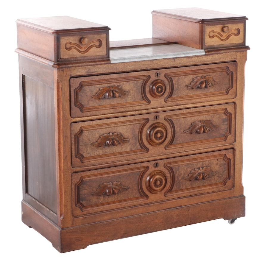 Victorian Walnut and Marble Drop Center Dresser, Late 19th Century