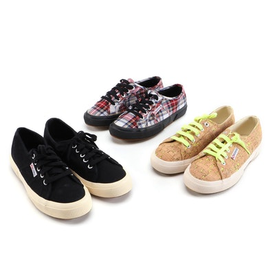 Superga Black, Plaid and Faux Cork Sneakers