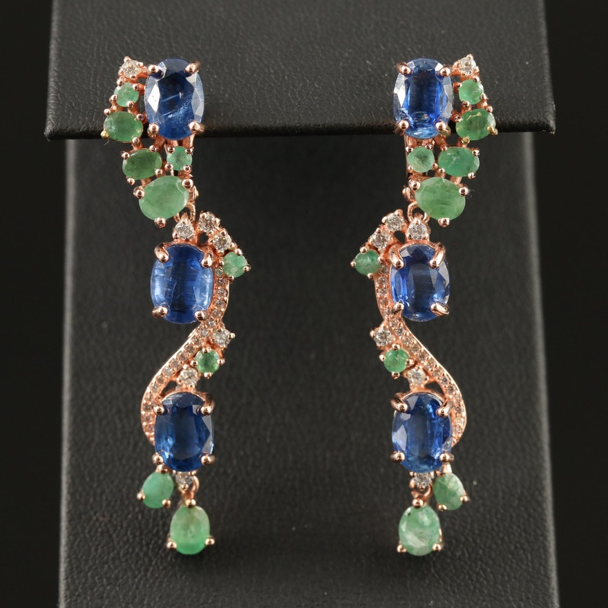 Sterling Silver Kyanite, Emerald and Cubic Zirconia Dangle Earrings