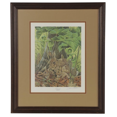 "John Ruthven Offset Lithograph ""Cottontails"""