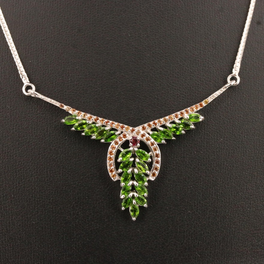 Sterling Silver Sapphire, Diopside and Garnet Bib Necklace