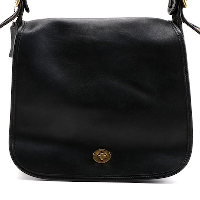 Coach Stewardess 9525 Flap Front Bag in Black Leather, Vintage