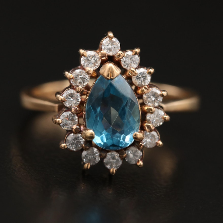 14K Topaz  Ring with Diamond Halo