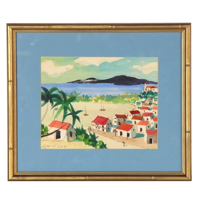 Juan el Loco Coastal Watercolor Painting, Late 20th Century
