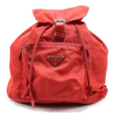 Prada Red Tessuto Nylon Backpack Purse