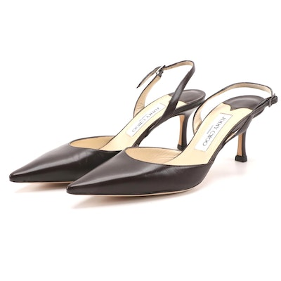 Jimmy Choo Dark Brown Leather Pointed-Toe Slingback Heels