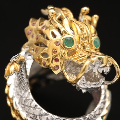 Asian Inspired Sterling Silver Garnet, Sapphire and Emerald Naga Dragon Ring