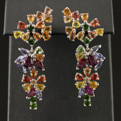 Sterling Tanzanite, Garnet and Diopside Floral Dangle Earrings