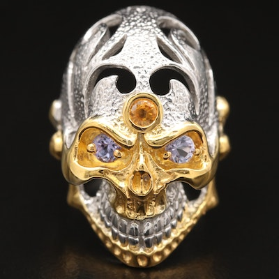 Sterling Silver Sapphire and Tanzanite Skull Ring