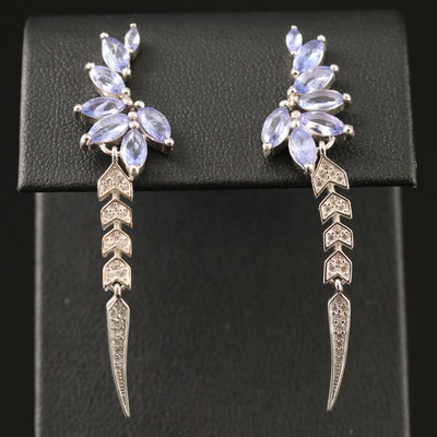 Sterling Silver Tanzanite and Cubic Zirconia Foliate Motif Dangle Earrings