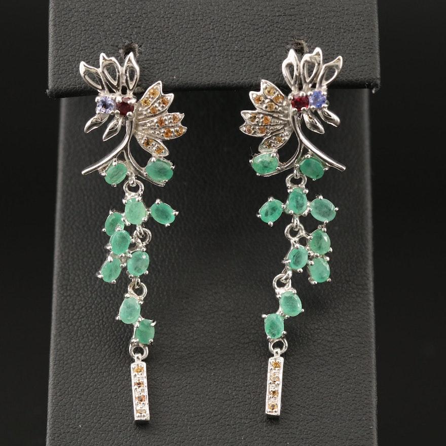 Sterling Beryl, Sapphire, Garnet and Tanzanite Dangle Earrings
