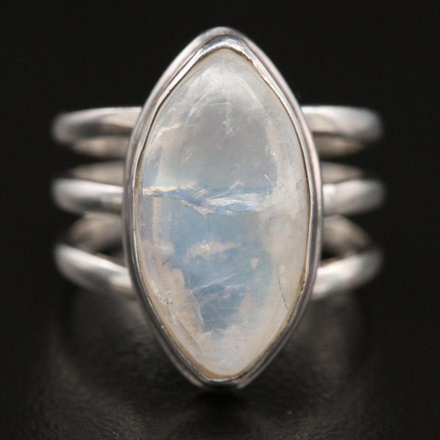 Sterling Silver Moonstone Split Shoulder Ring