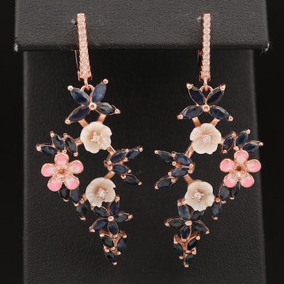 Sterling Sapphire, Mother of Pearl and Cubic Zirconia Earrings