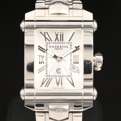 Charriol Columbus Stainless Steel Quartz Wristwatch