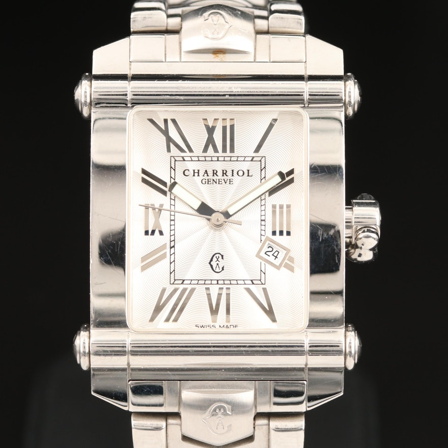 Charriol Columbus Stainless Steel Quartz Wristwatch