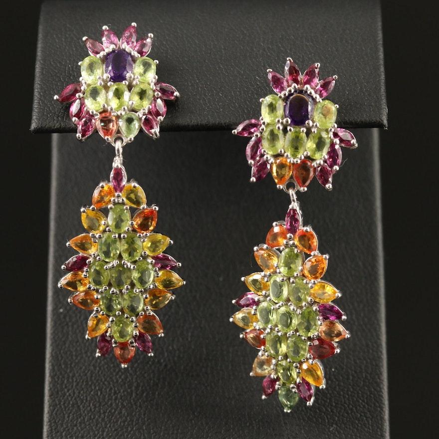 Sterling Amethyst, Peridot and Sapphire Drop Earrings