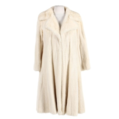Donald Brooks Platinum Mink Fur Swing Coat with Wide Notched Collar