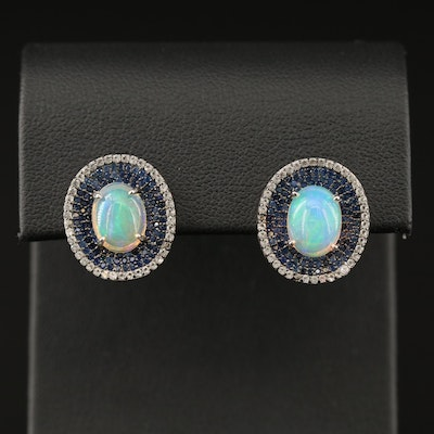 Sterling Opal, Sapphire and Topaz Button Earrings